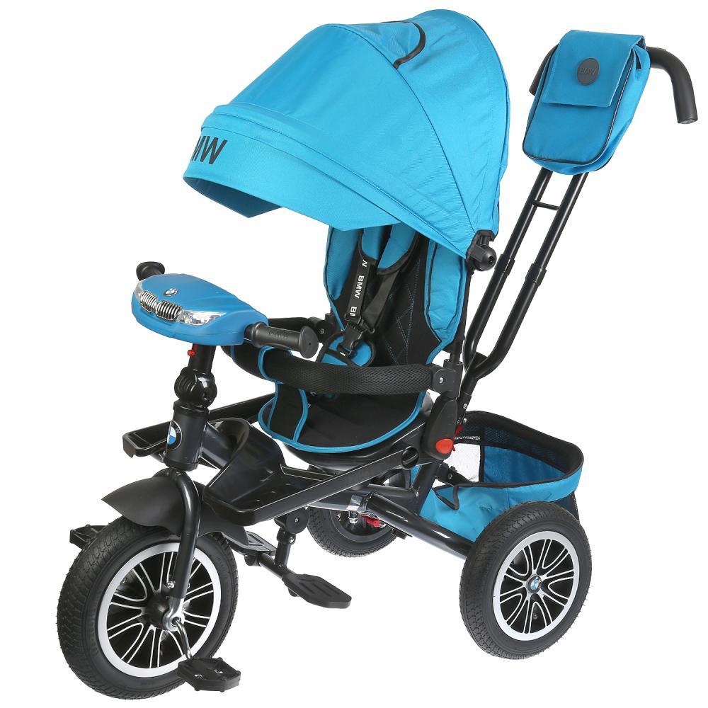Велосипед 3 колесный – BMW, голубой цвет, надувные колеса 12 и 10 дюйм, светомузыкальная панель, поворотное сиденье