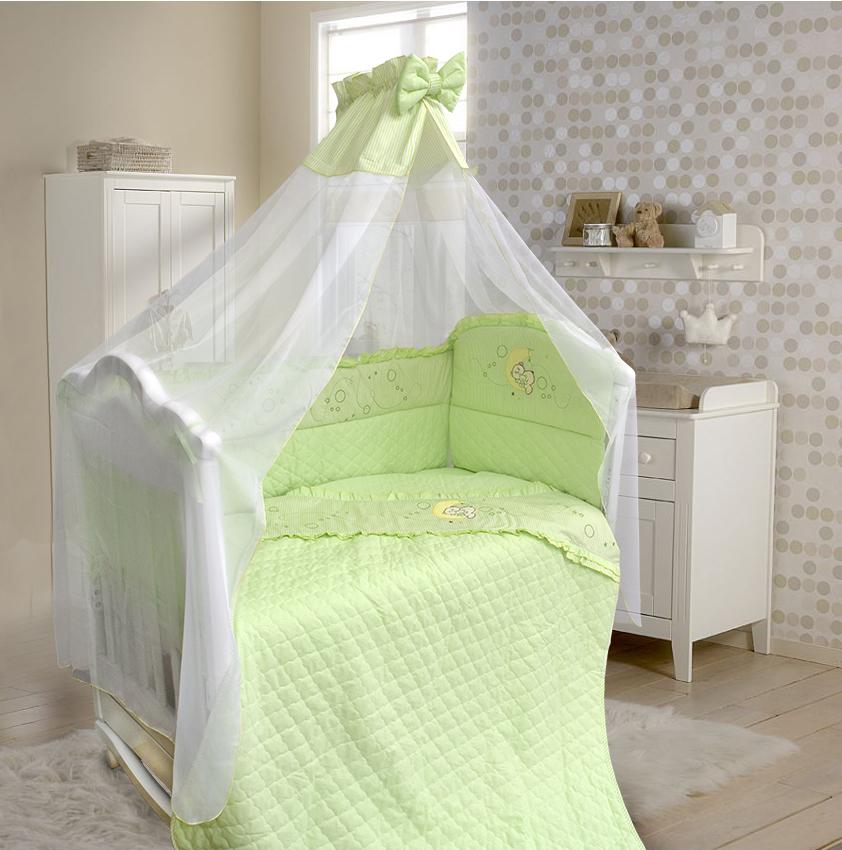 Комплект в кроватку – Соня, 6 предметов, зеленыйДетское постельное белье<br>Комплект в кроватку – Соня, 6 предметов, зеленый<br>