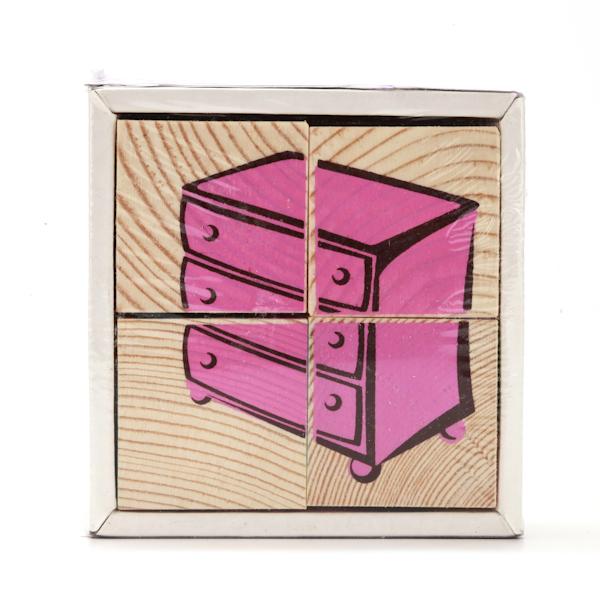 Набор из 4-х кубиков - Мебель из серии Собери картинкуКубики<br>Набор из 4-х кубиков - Мебель из серии Собери картинку<br>