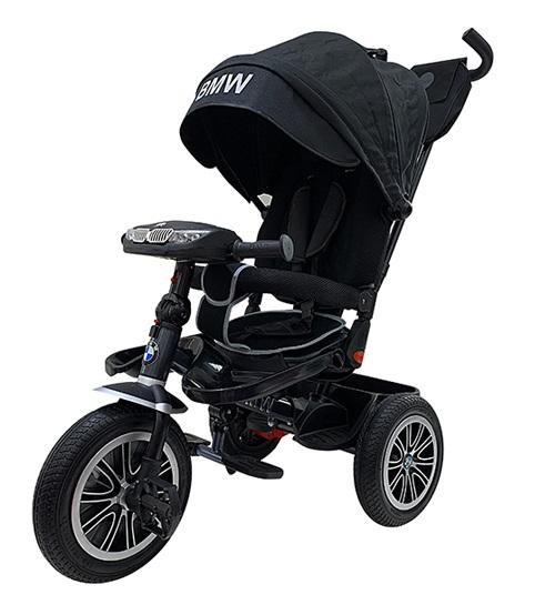 Велосипед 3 колесный – BMW, цвет черный, надувные колеса 12 и 10 дюйм, светомузыкальная панель