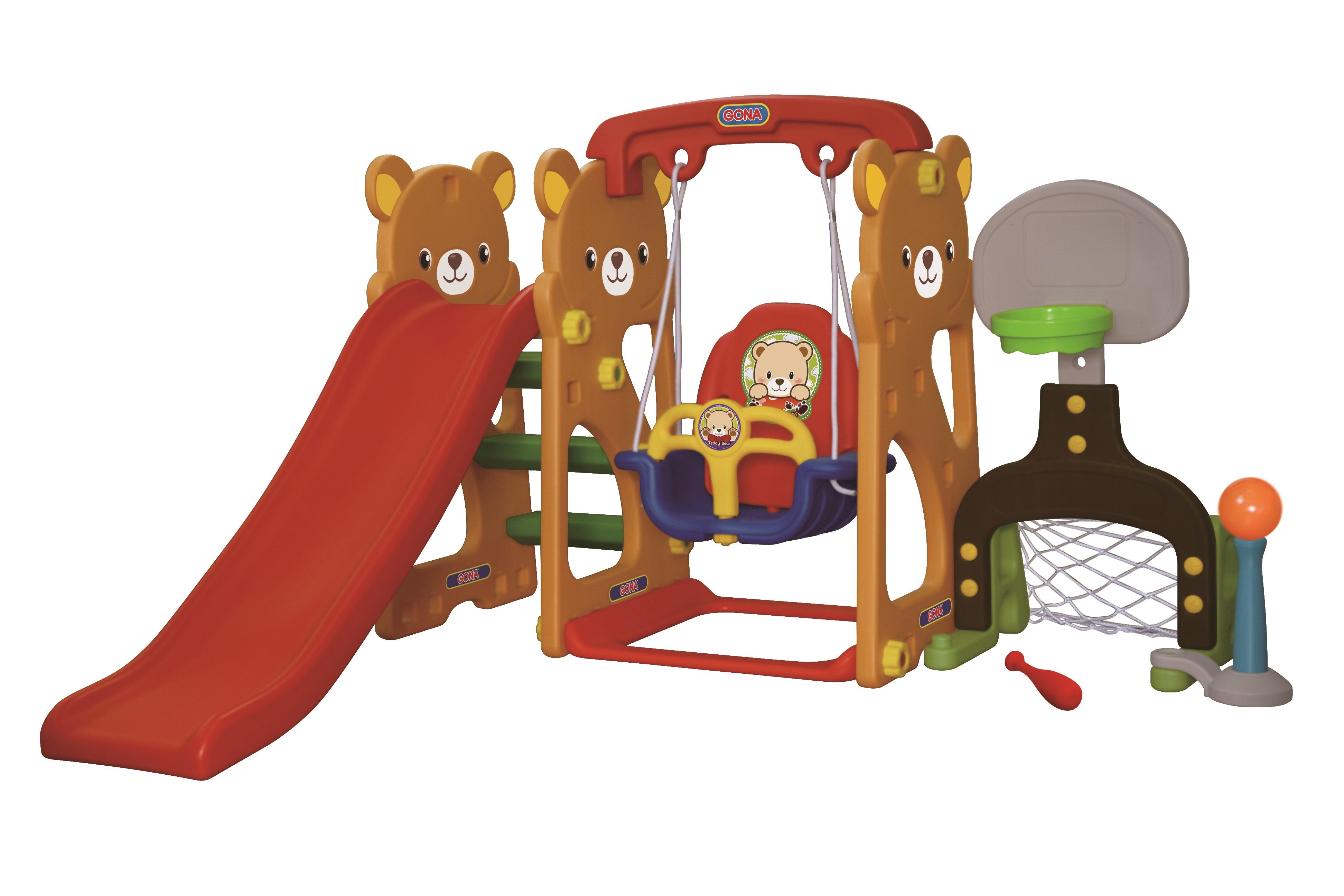 Игровая зона Мишка с качелями, горкой, футбольными воротами и баскетбольным кольцомДетские игровые горки<br>Игровая зона Мишка с качелями, горкой, футбольными воротами и баскетбольным кольцом<br>