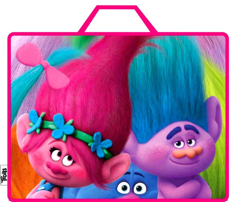 Папка-сумка для девочки. ТроллиШкольные рюкзаки<br>Папка-сумка для девочки. Тролли<br>