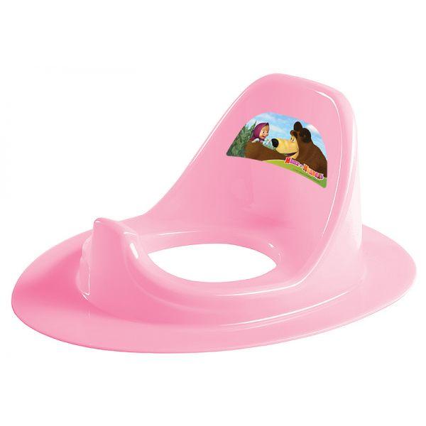 Накладка на унитаз с аппликацией Маша и Медведь, цвет розовыйГоршки и сиденья для унитаза<br>Накладка на унитаз с аппликацией Маша и Медведь, цвет розовый<br>