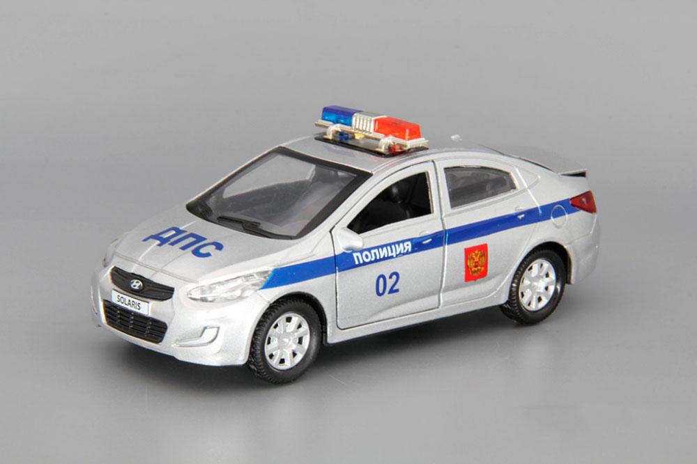Купить со скидкой Машина металлическая Hyundai Solaris Полиция 12 см, открываются двери и багажник, инерционная