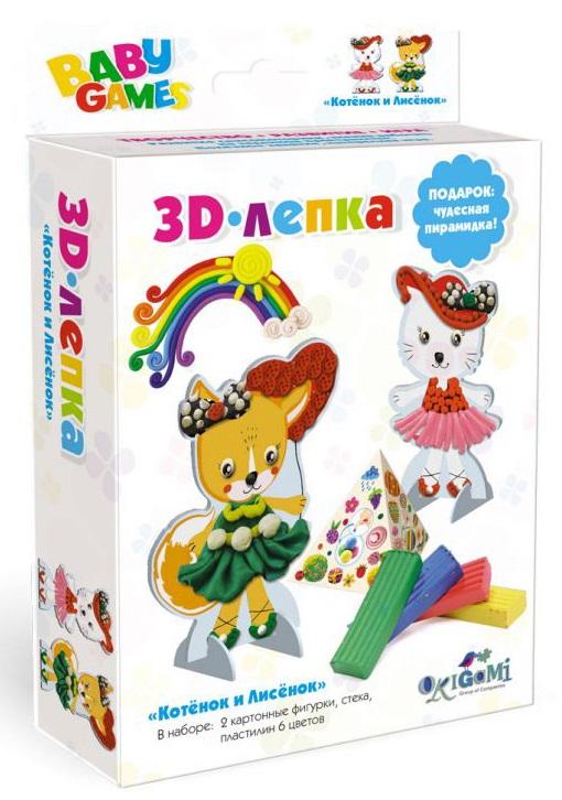 Набор Baby Games 3D-лепка - Котенок и ЛисенокНаборы для лепки<br>Набор Baby Games 3D-лепка - Котенок и Лисенок<br>