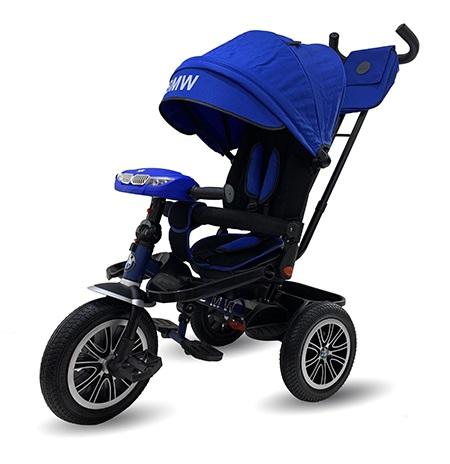 Велосипед 3 колесный – BMW, цвет синий, надувные колеса 12 и 10 дюйм, светомузыкальная панель