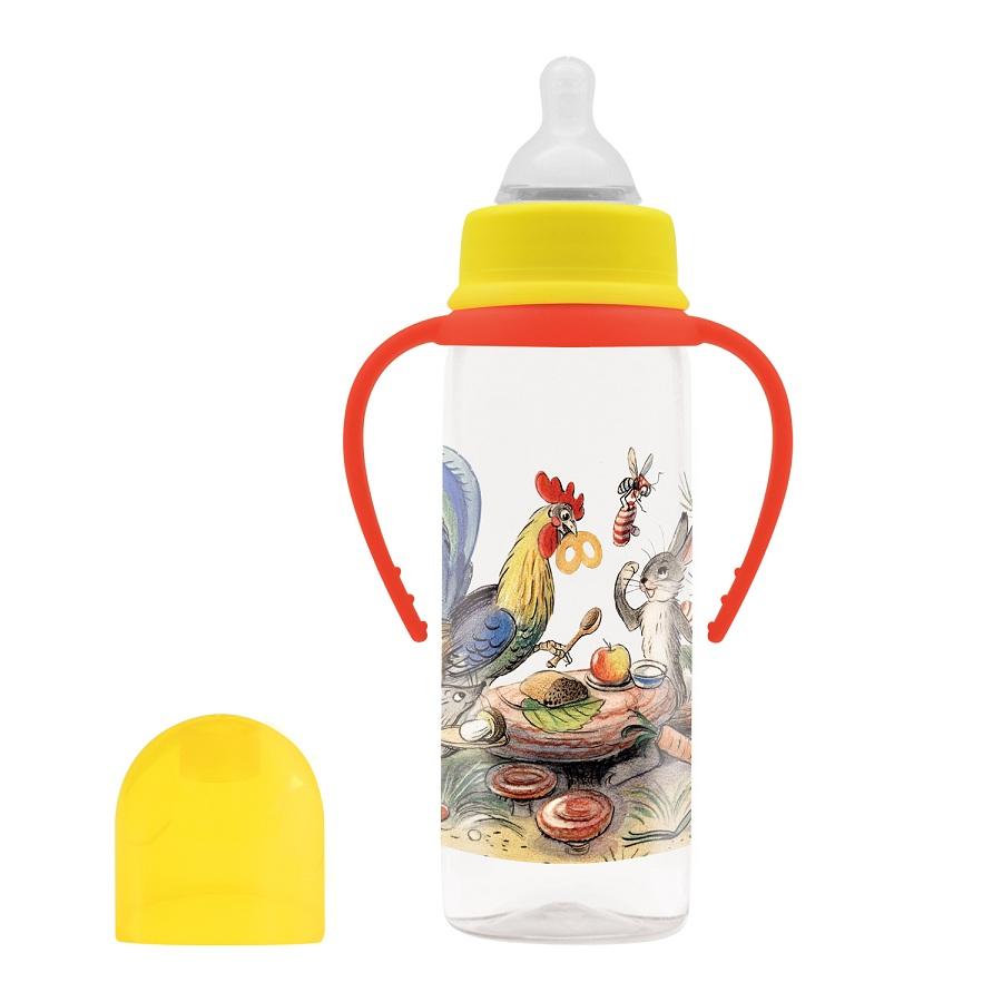 Купить Бутылочка для кормления с соской - Сказки В. Сутеева, от рождения, 250 мл, коллекция - Разные колеса, Lubby