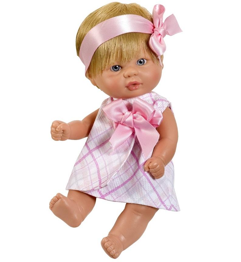 Кукла пупсик в розовом платьице, 20 см.Куклы ASI (Испания)<br>Кукла пупсик в розовом платьице, 20 см.<br>