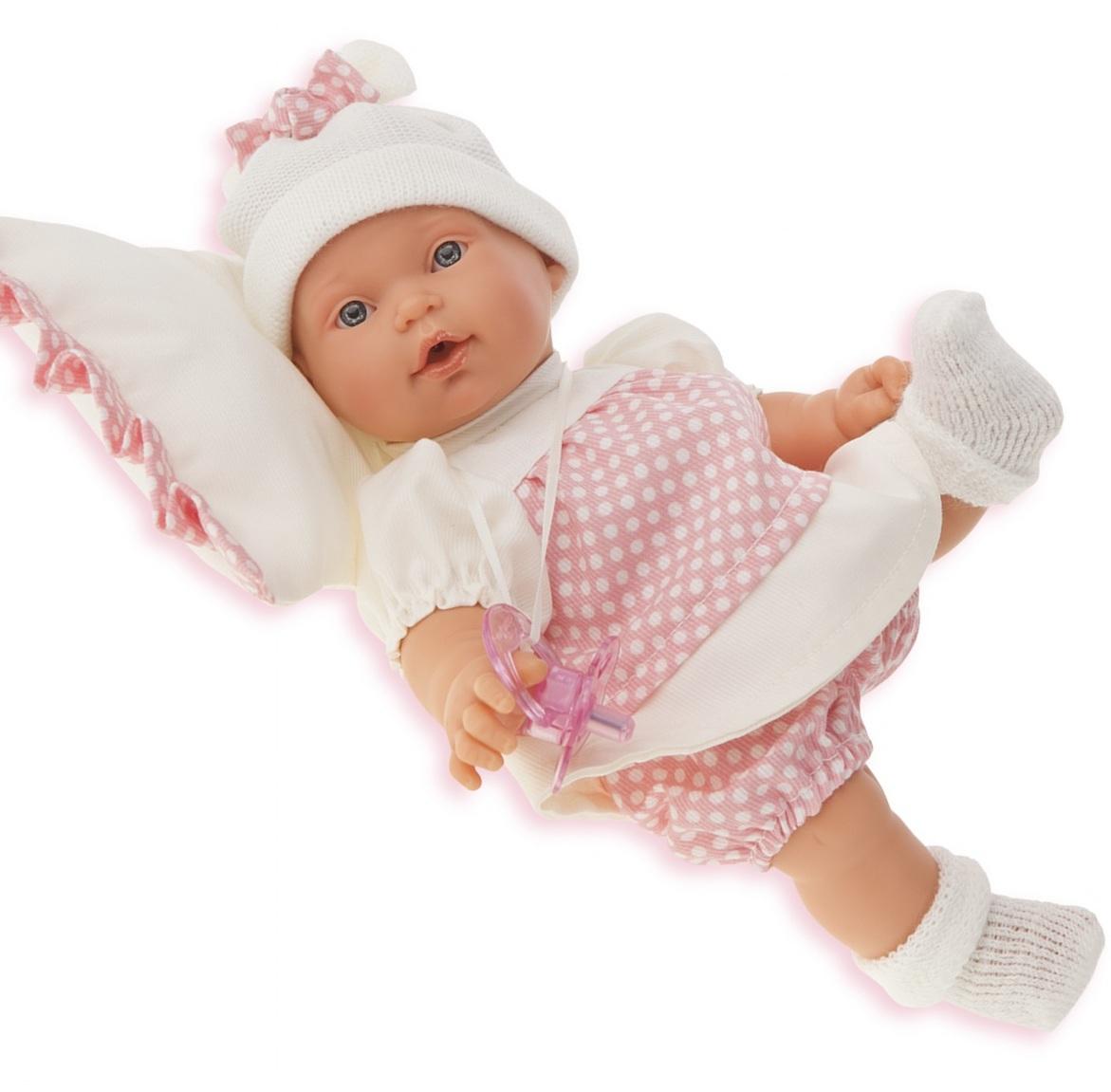 Кукла Ланита на бежевой подушке, 27 см, плачетКуклы Антонио Хуан (Antonio Juan Munecas)<br>Кукла Ланита на бежевой подушке, 27 см, плачет<br>