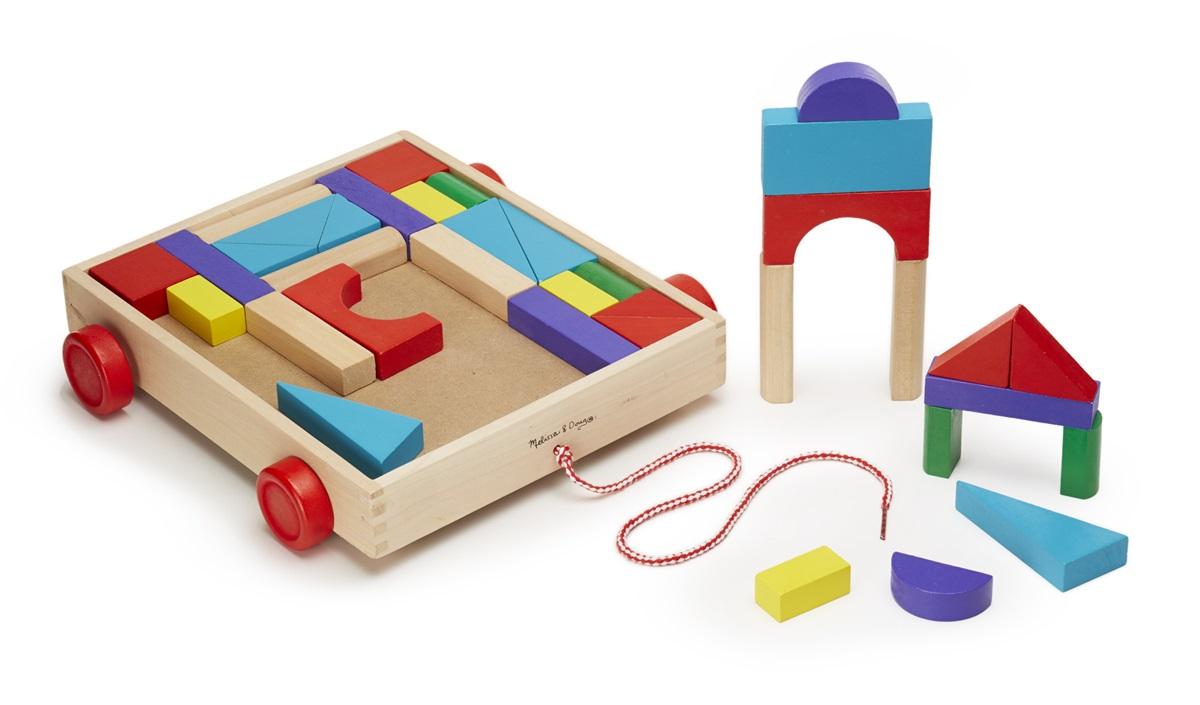 Конструктор из разноцветных кубиков в тележке от Toyway