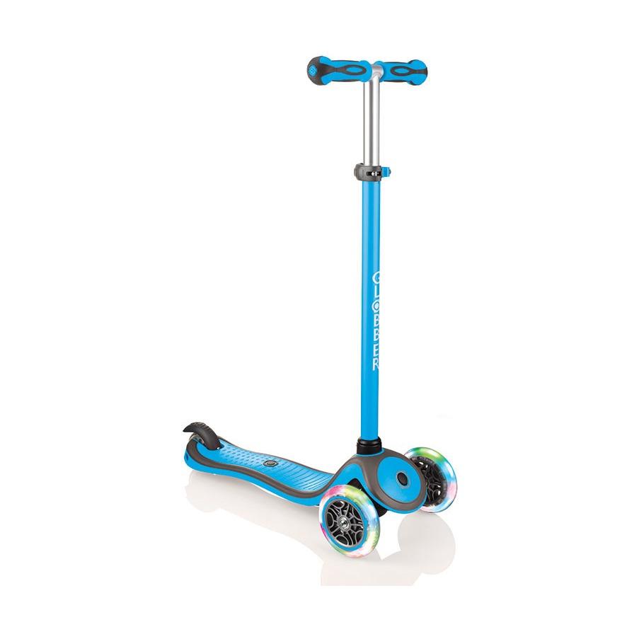 Купить Трехколесный самокат Globber Primo Plus Color Lights, голубой