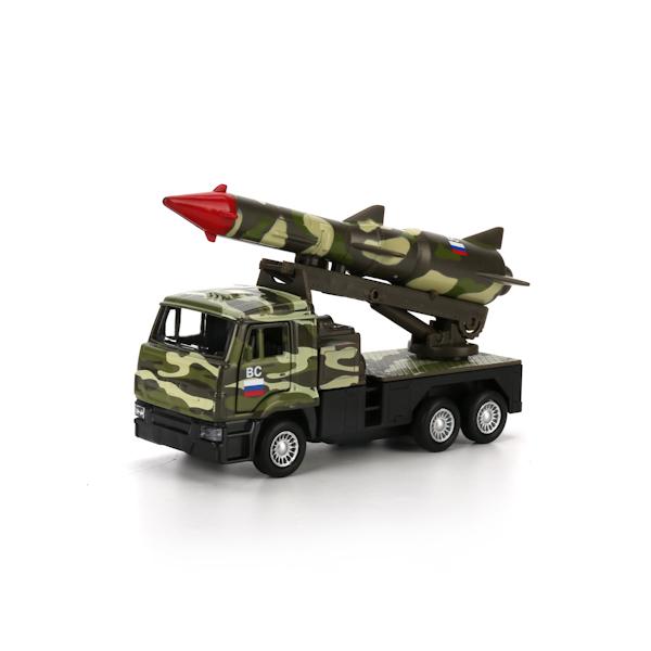 Металлическая инерционная машина – Камаз, ракета, 12 см, открывающиеся двери, зеленый камуфляжВоенная техника<br>Металлическая инерционная машина – Камаз, ракета, 12 см, открывающиеся двери, зеленый камуфляж<br>