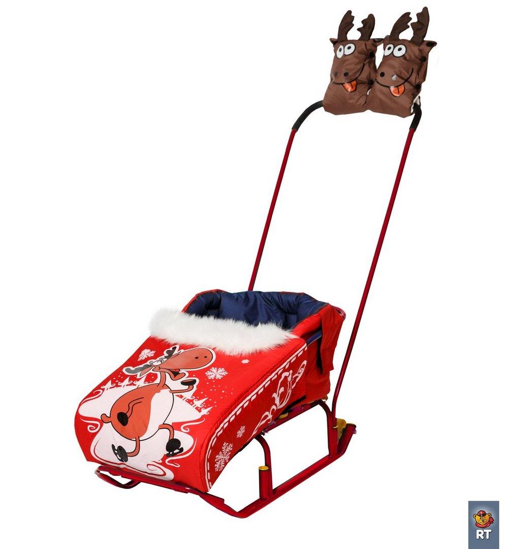 Комплект  Новогодний олень : матрасик + варежки. КрасныйМатрасики, муфты, чехлы в санки<br>Комплект  Новогодний олень : матрасик + варежки. Красный<br>