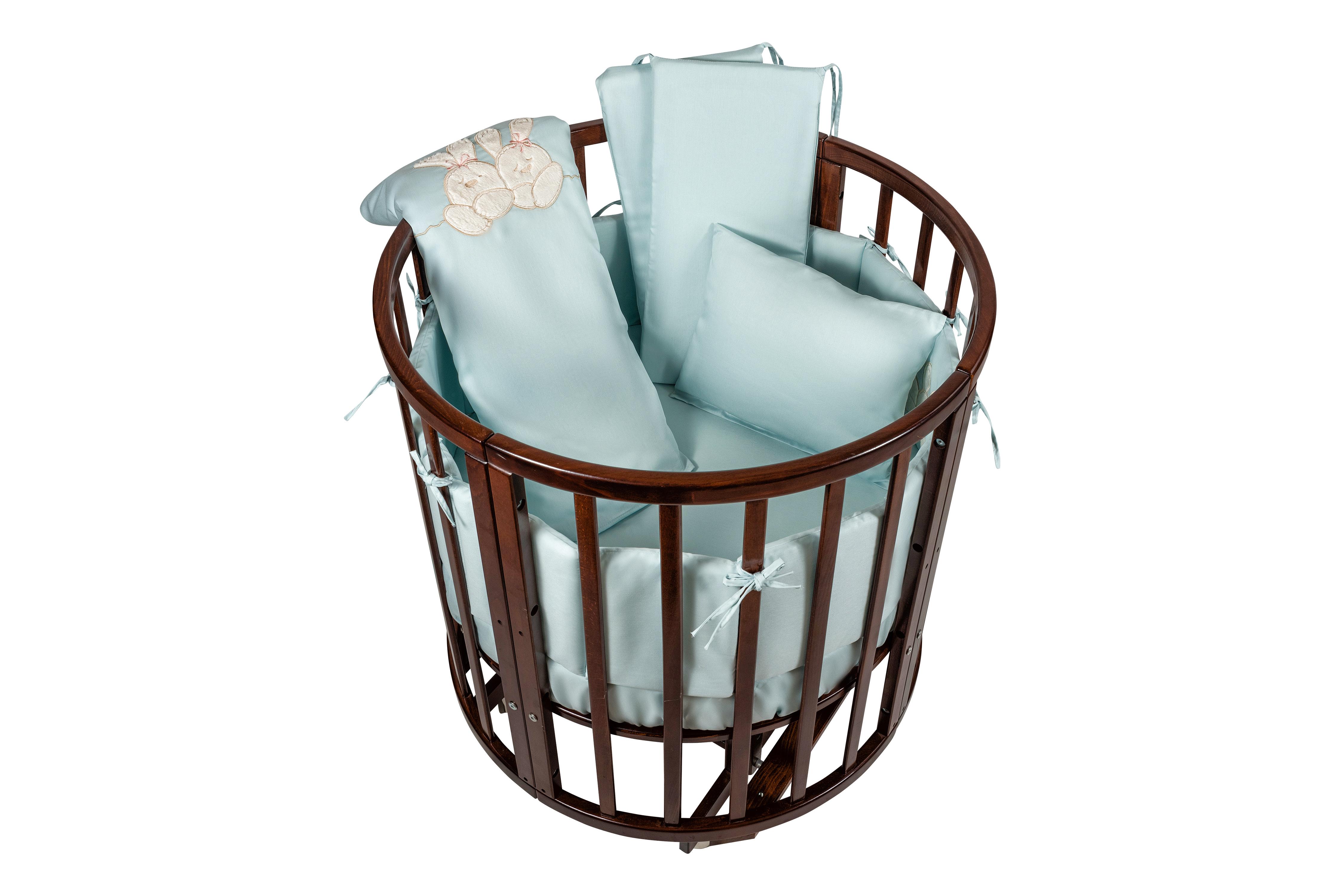 Комплект в люльку Nuovita - Leprotti, 6 предметов, бирюзовыйДетское постельное белье<br>Комплект в люльку Nuovita - Leprotti, 6 предметов, бирюзовый<br>