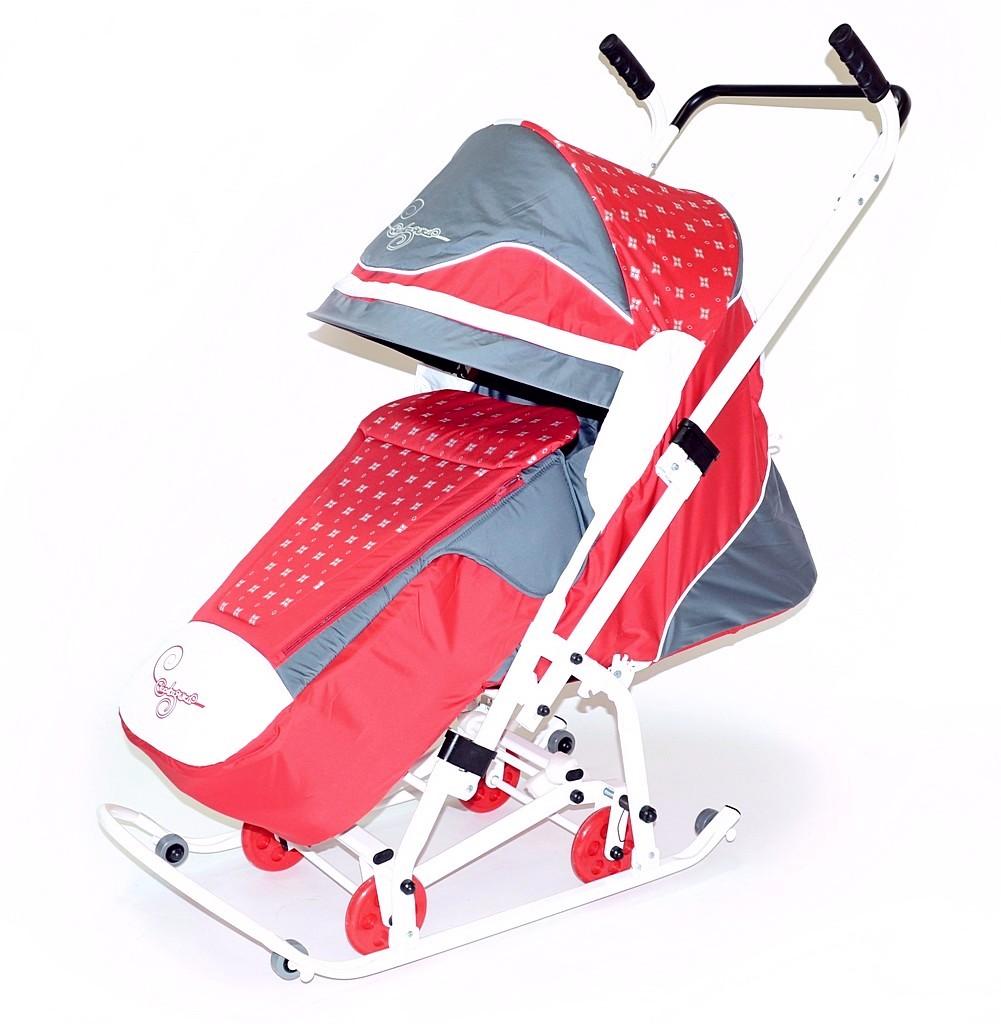 Купить Санки-коляска Скользяшки Мозаика 0933-Р14, цвет – красный, серый, белый, RT