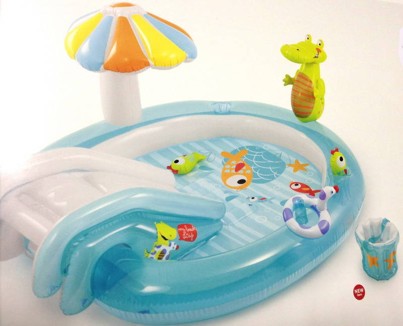 Центр водный игровой надувной - Крокодильчик, с аксессуарамиДетские надувные бассейны<br>Центр водный игровой надувной - Крокодильчик, с аксессуарами<br>