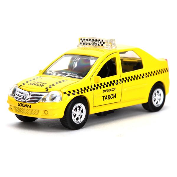 Купить Металлическая инерционная машина - Renault Logan – Такси, масштаб 1:43, со светом и звуком, Технопарк