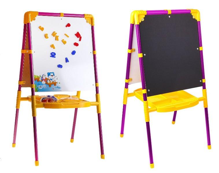 Мольберт детский двусторонний сиреневый с пластиковой азбукойМольберты<br>Мольберт детский двусторонний сиреневый с пластиковой азбукой<br>