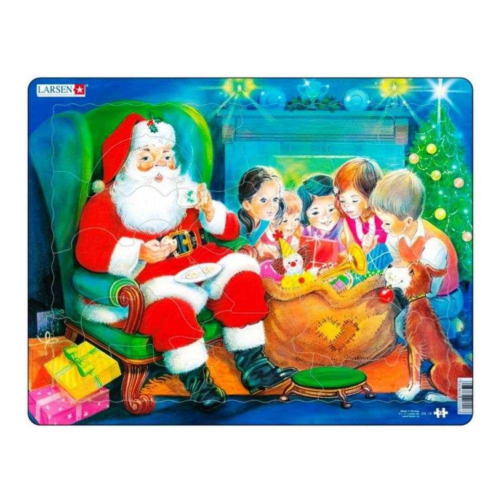 Пазл - Санта с детьми, 15 деталей фото