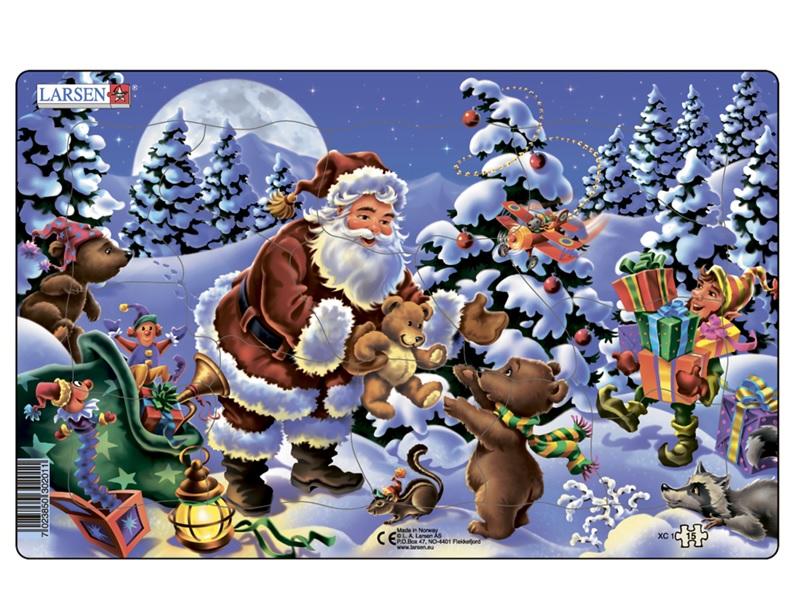 Купить Пазл - Санта-Клаус, 2 вида, 15 деталей, Larsen