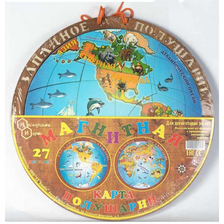 Двусторонняя магнитная карта полушарий, 27 деталей Бэмби