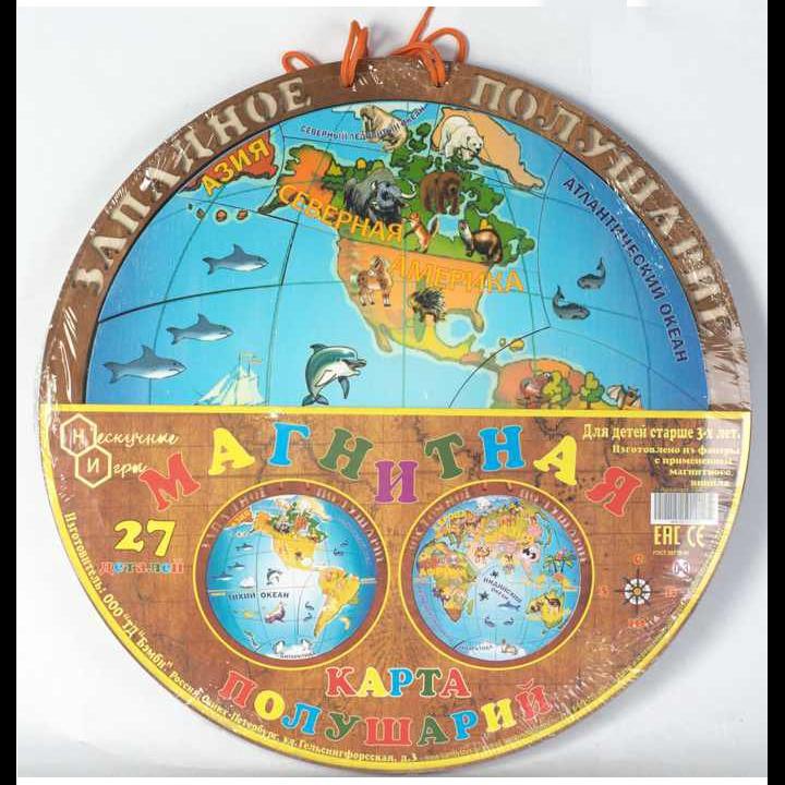 Двусторонняя магнитная карта полушарий, 27 деталейПазлы для малышей<br>Двусторонняя магнитная карта полушарий, 27 деталей<br>