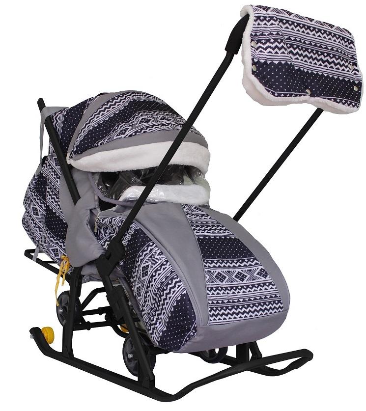 Купить Санки-коляска Snow Galaxy Luxe Финляндия, черная на больших мягких колесах