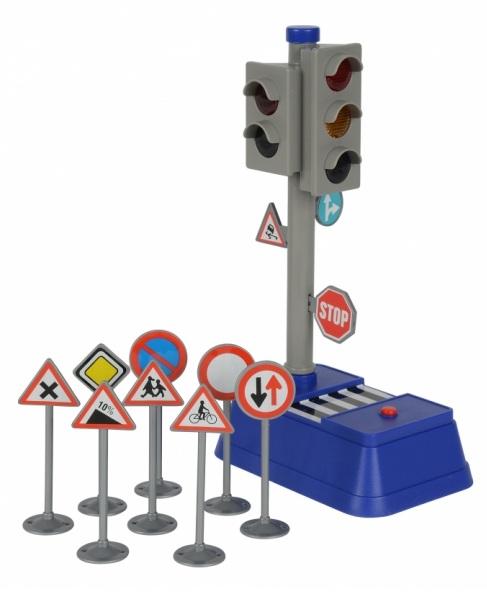 Светофор и набор дорожных знаков, 24 см.Знаки дорожного движения, светофоры<br>Светофор и набор дорожных знаков, 24 см.<br>