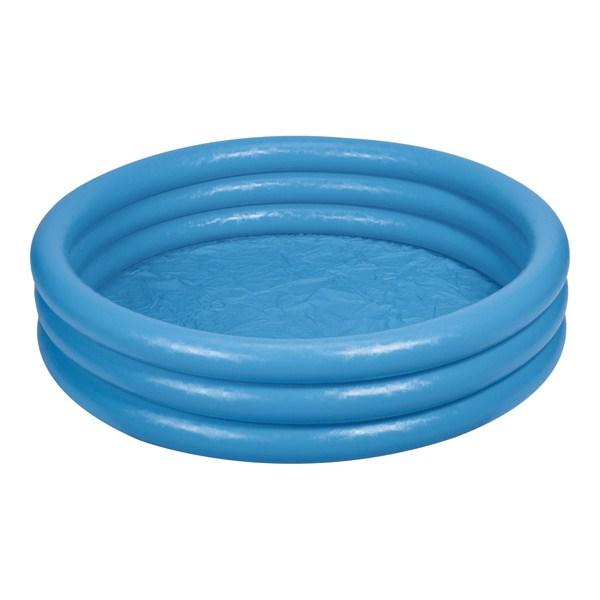 Бассейн надувной круглый с 3 кольцами, дизайн – Голубой кристаллДетские надувные бассейны<br>Бассейн надувной круглый с 3 кольцами, дизайн – Голубой кристалл<br>