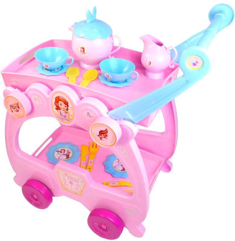 Купить Игровой набор посуды с тележкой - Принцесса София, 2 в 1, Bildo