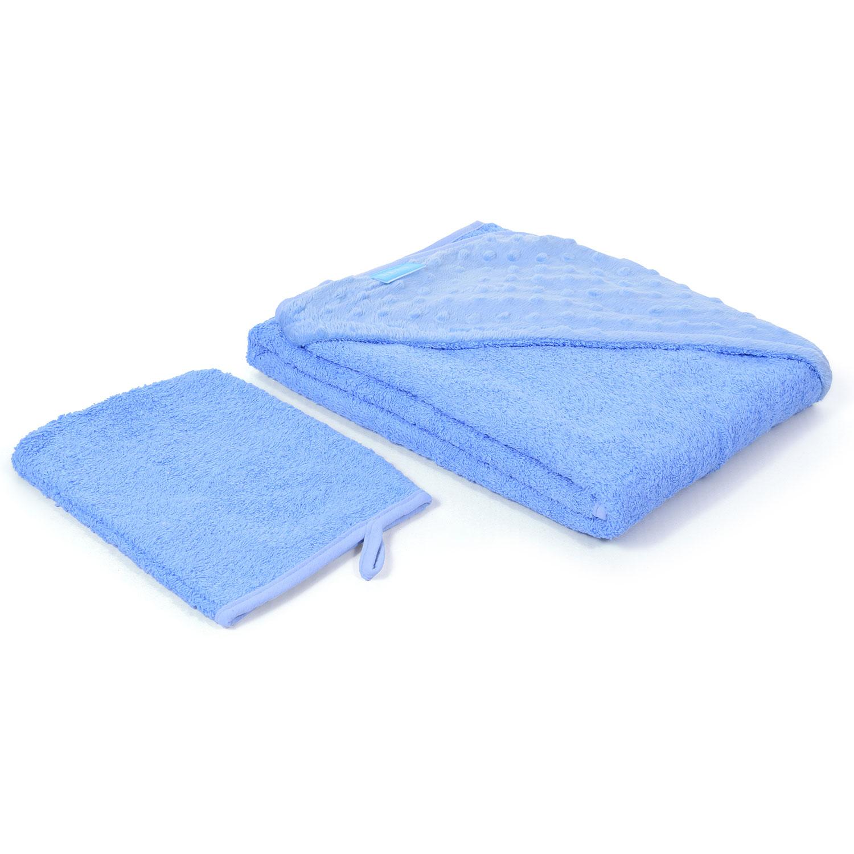 Полотенце с уголком и варежкой Nuovita Grazia 100 x 100, голубой / blu