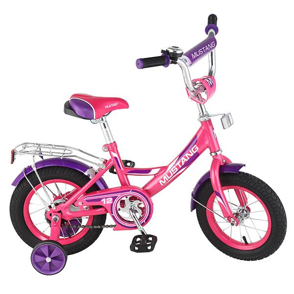 Детский велосипед – Mustang, 12, А-тип, розово-фиолетовыйВелосипеды детские<br>Детский велосипед – Mustang, 12, А-тип, розово-фиолетовый<br>