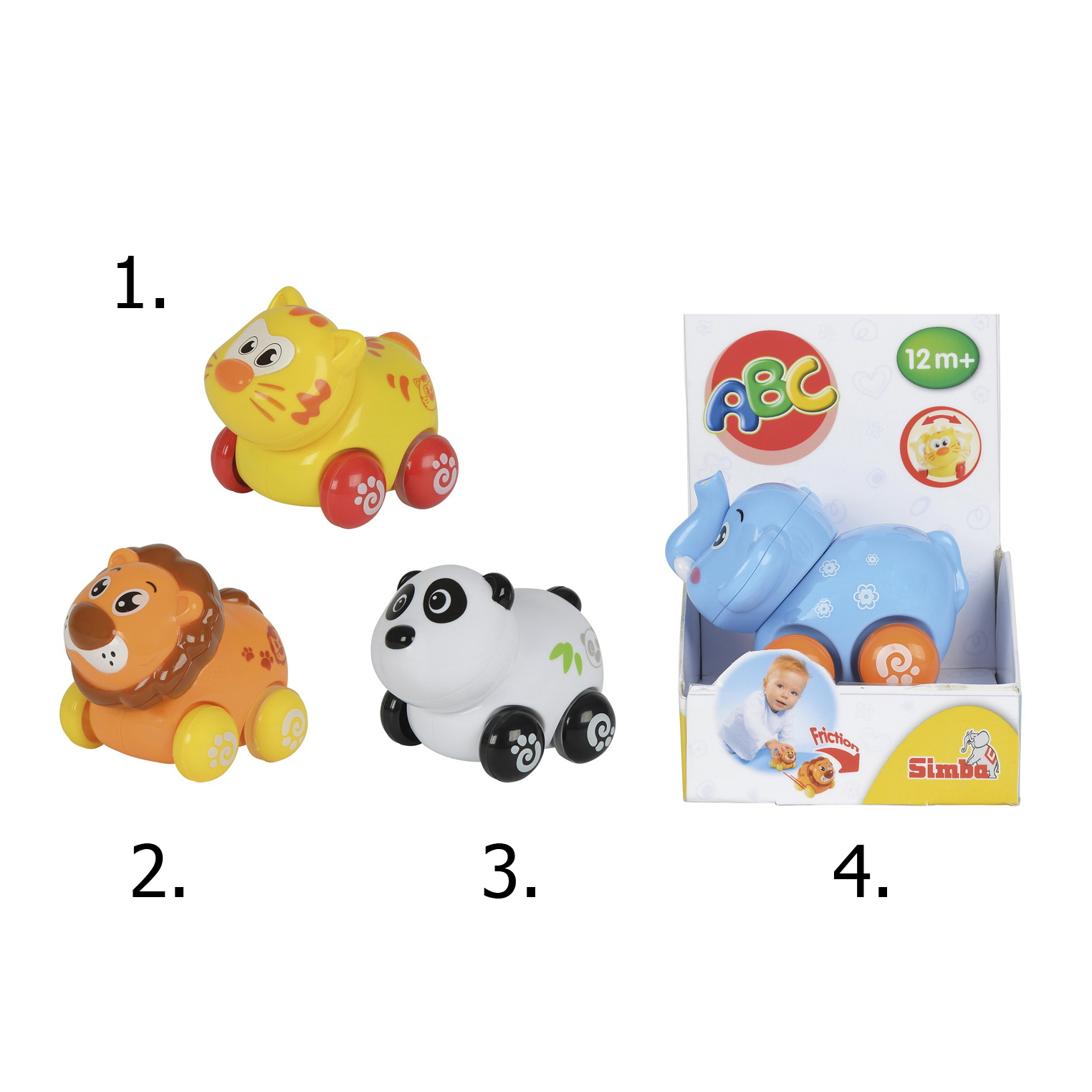 Игрушка с фрикционным механизмом - Животные на колесиках, 8 см., 4 видаРазвивающие игрушки Simba Baby<br>Игрушка с фрикционным механизмом - Животные на колесиках, 8 см., 4 вида<br>