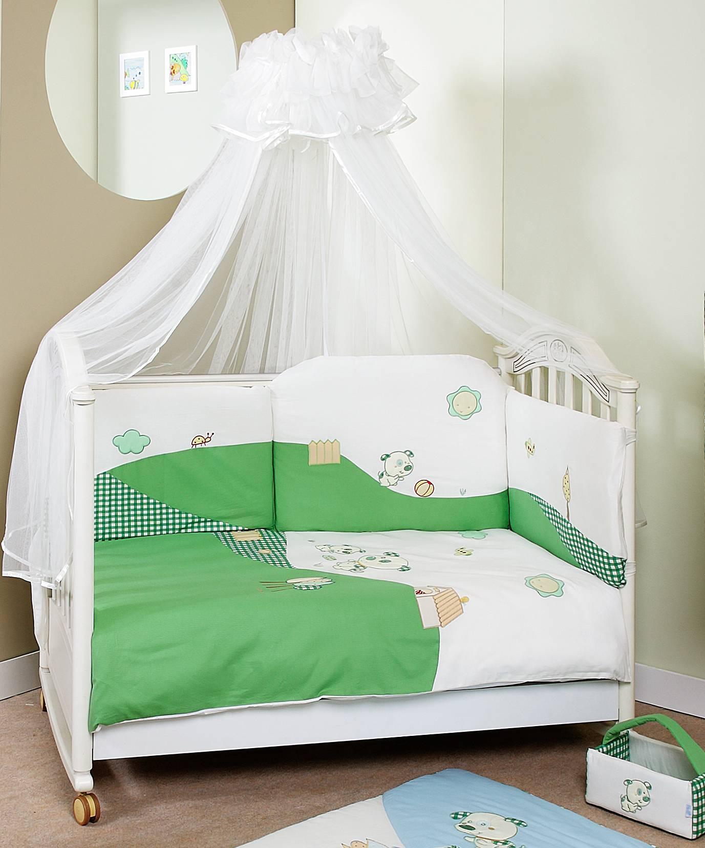 Комплект постельного белья Dogs лонг, 6 предметов, зеленыйДетское постельное белье<br>Комплект постельного белья Dogs лонг, 6 предметов, зеленый<br>