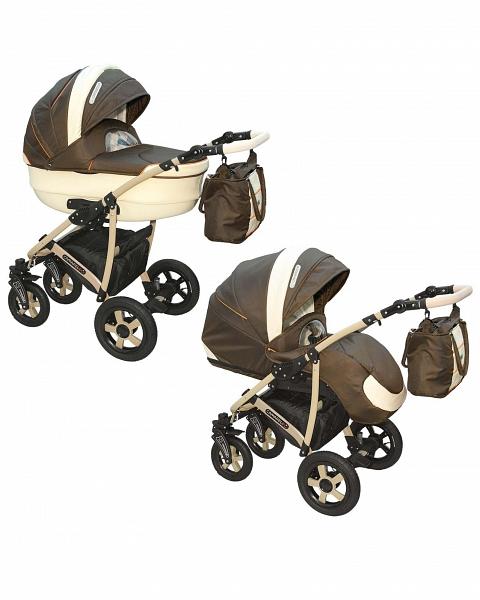 Детская коляска Camarelo Carmela 2 в 1, коричнево-бежеваяДетские коляски 2 в 1<br>Детская коляска Camarelo Carmela 2 в 1, коричнево-бежевая<br>