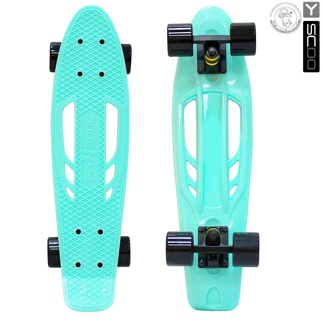 Скейтборд виниловый Y-Scoo Skateboard Fishbone 405-A с ручкой и сумкой, голубой