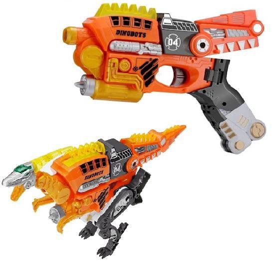 Купить Робот-бластер Dinobots 2 в 1 - Велоцираптор, оранжевый, JUNFA TOYS
