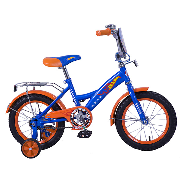 Велосипед детский Hot Wheels, колеса 14, GW-стальная рама, багажник, страховочные колеса, щиток на руле, цвет – сине-оранжевыйВелосипеды детские<br>Велосипед детский Hot Wheels, колеса 14, GW-стальная рама, багажник, страховочные колеса, щиток на руле, цвет – сине-оранжевый<br>