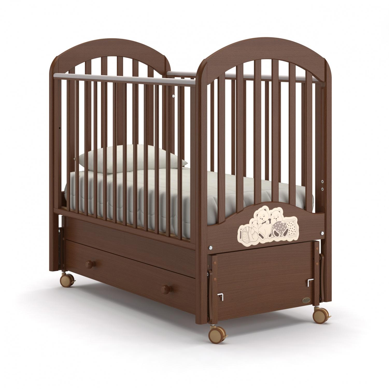 Купить Детская кровать Nuovita Grano swing продольный, noce scuro/темный орех