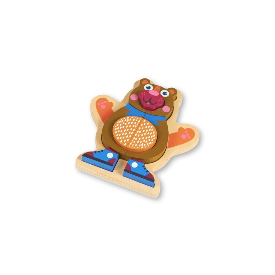 Развивающий деревянный пазл – МедвежонокРамки и паззлы<br>Развивающий деревянный пазл – Медвежонок<br>