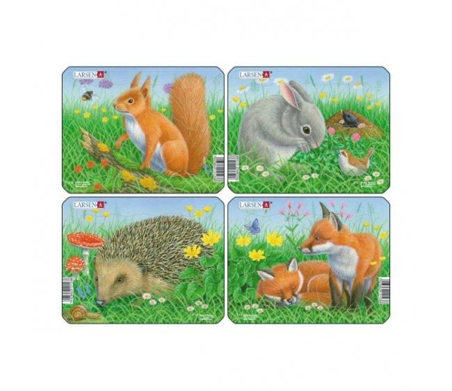 Пазл - Кролик, белка, лиса, еж, 5 элементов фото