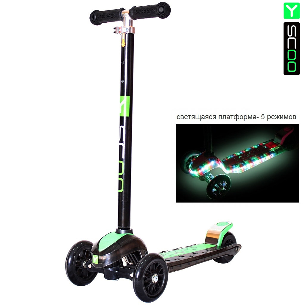 Купить Самокат Y-Scoo Maxi Laser Show, черно-зеленый