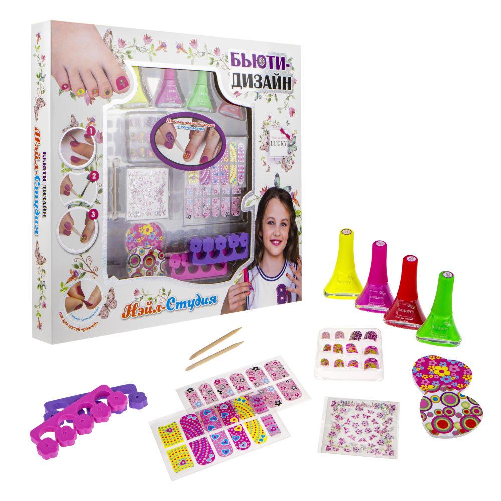 Купить Набор для дизайна ногтей Нэйл-Студия с лаками для ногтей 117, 133, 119, 022 по 5, 5 мл, Lucky