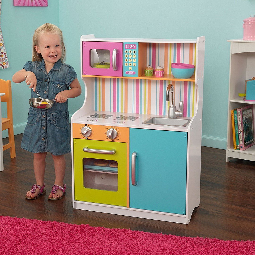 Купить Деревянная игровая кухня для девочек Делюкс Мини Bright Toddler Kitchen, KidKraft