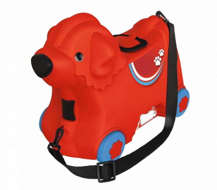 Детский чемодан-каталка на колесиках - Собачка, красныйМашинки-каталки для детей<br>Детский чемодан-каталка на колесиках - Собачка, красный<br>