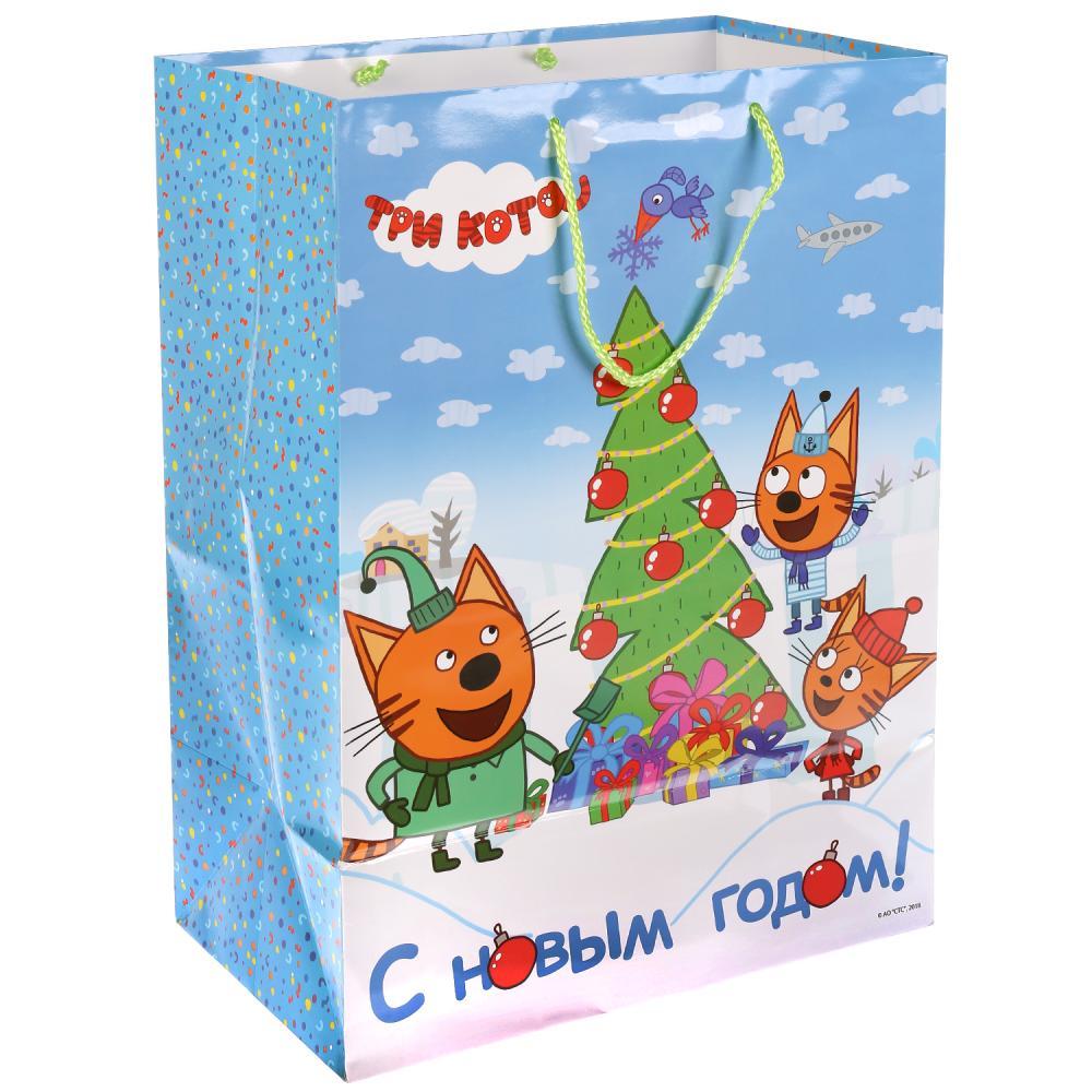 Купить Пакет подарочный глянцевый из серии Три кота - С Новым Годом!, размер 33 х 46 х 20 см., Веселый праздник