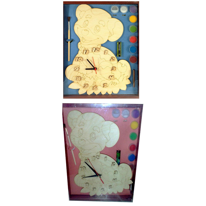 Часы с циферблатом под роспись – Собачка, с краскамиЛаковая миниатюра и роспись по дереву<br>Часы с циферблатом под роспись – Собачка, с красками<br>