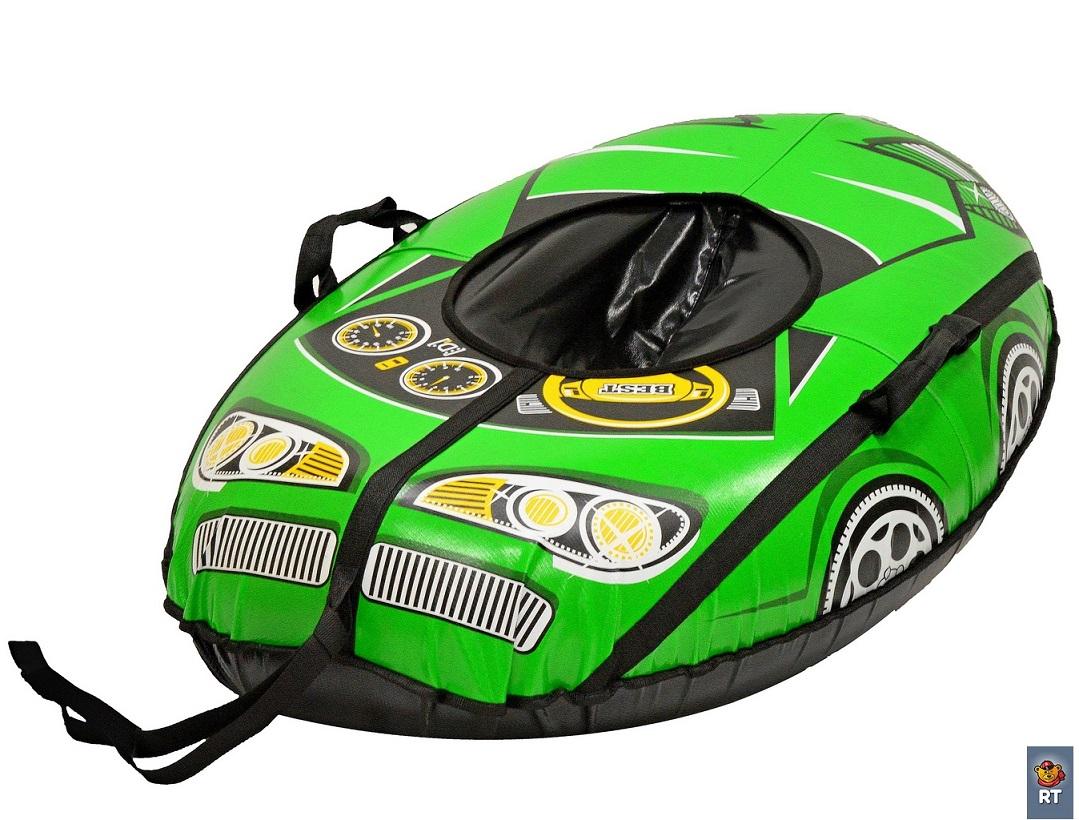 Санки надувные овальные Тюбинг - Машинка Best Racer, красная, автокамера