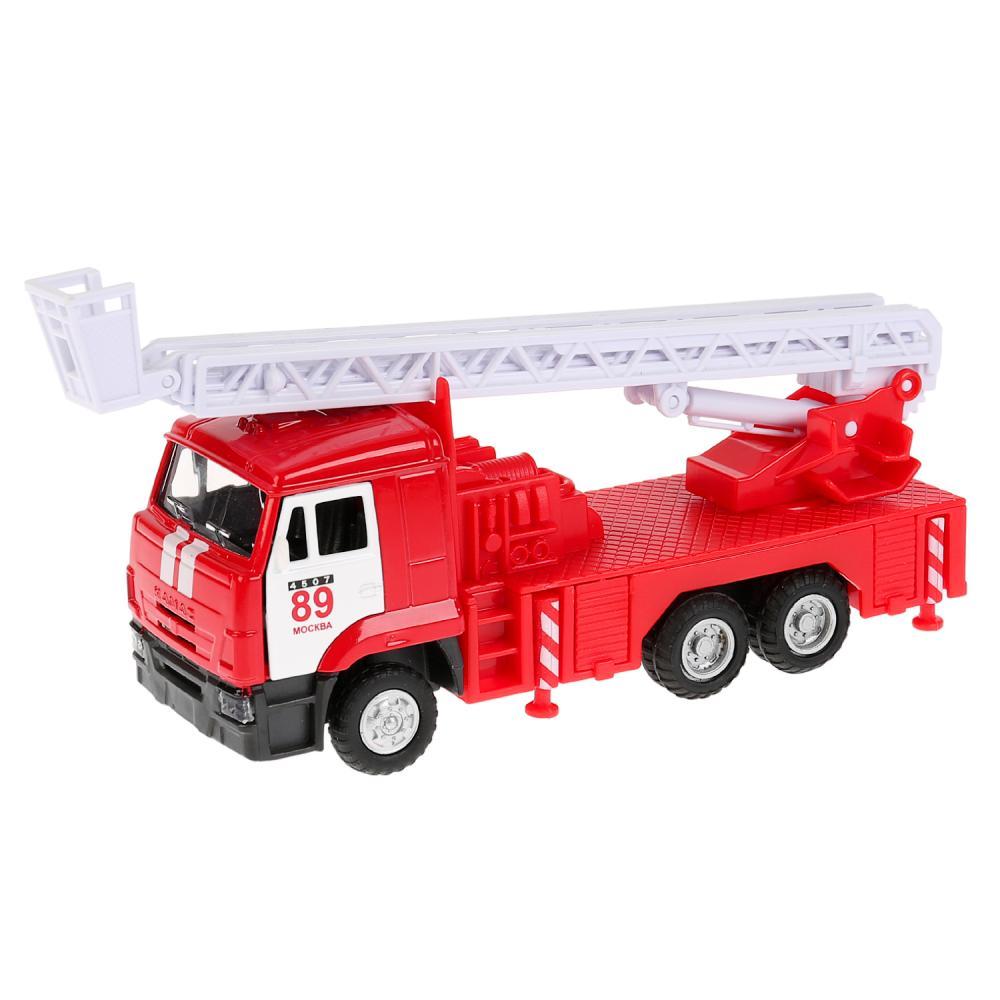 Купить Пожарная машина Камаз, инерционная металлическая, свет-звук, 1:43, Технопарк