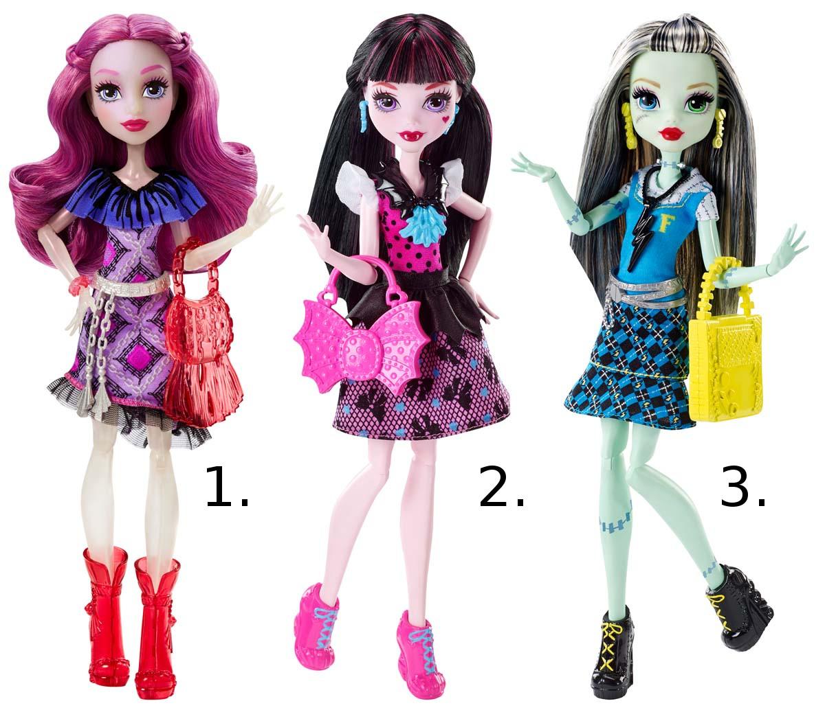 Главные персонажи из серии Monster High в модных нарядахКуклы Ever After High и Monster High<br>Главные персонажи из серии Monster High в модных нарядах<br>